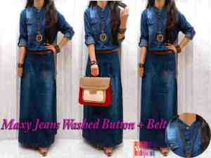Maxi jeans washed button + belt Rp.135.000 - ukuran allsize fit L - bahan jeans